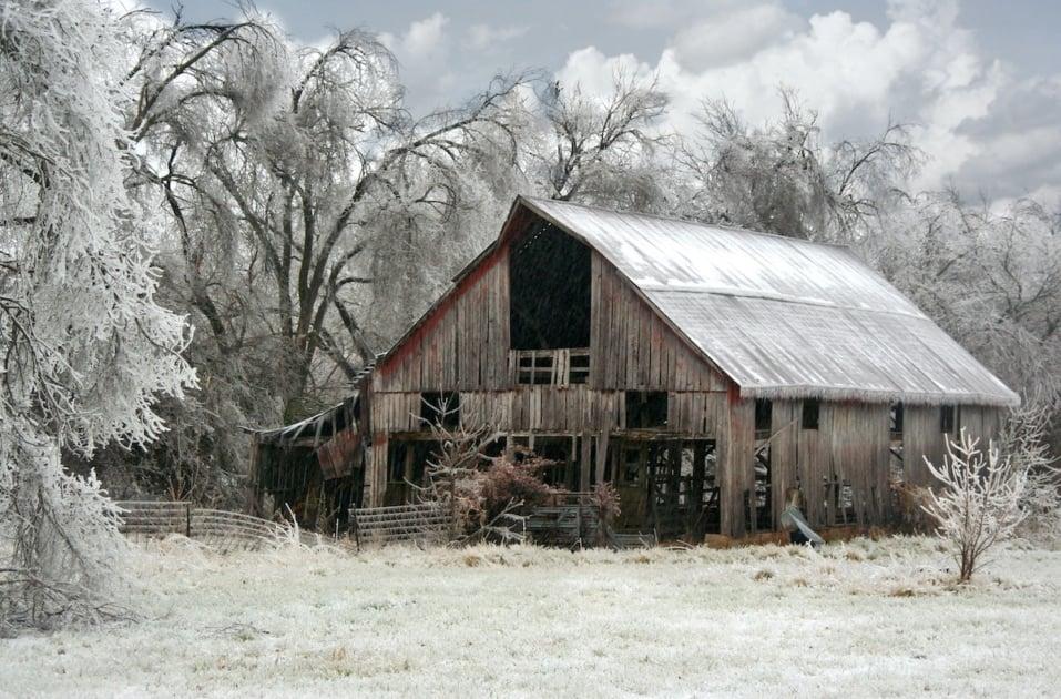 Rustic Weathered Barn Farm Ice Storm Springfield Southwest Missouri MO
