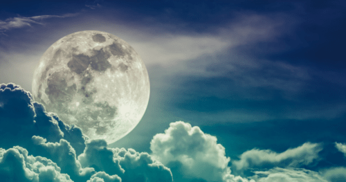 bright full moon and clouds