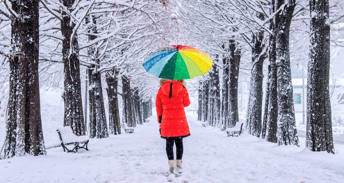 A woman in a red raincoat holding a rainbow colored umbrella while walking in a snowy forest.