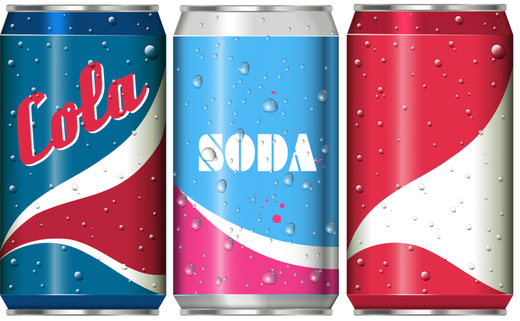 three cans of soda pop in a row