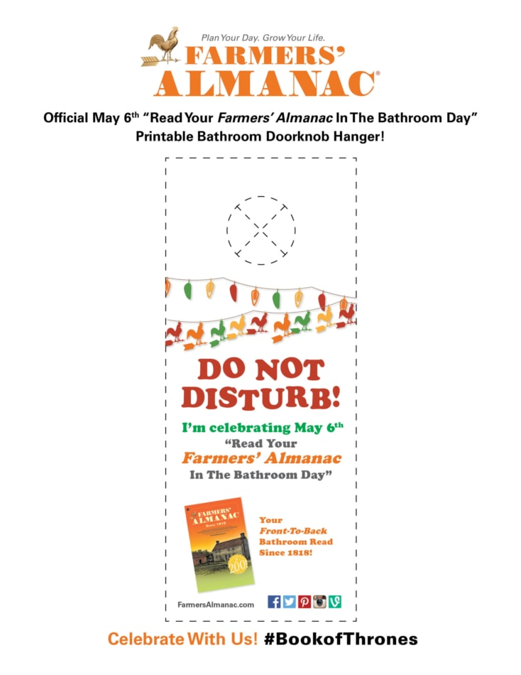 Printable of a Do Not Disturb Doorknob Hanger from the Farmers' Almanac.