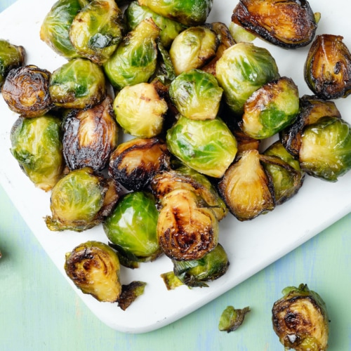 close up of crispy roasted brussels sprout