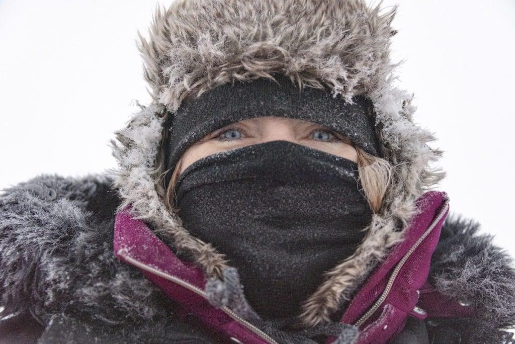 woman bundled up in winter gear