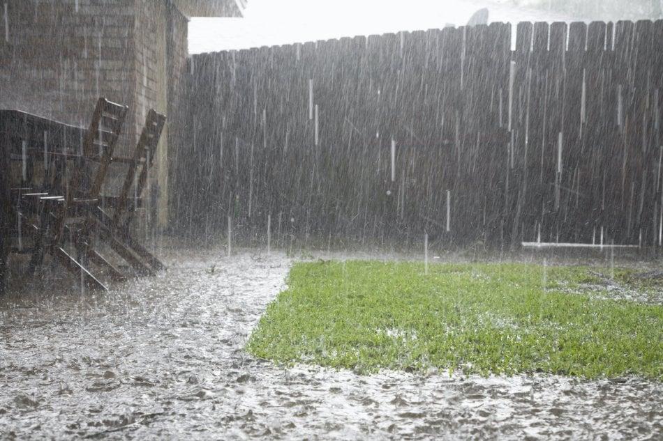 View of heavy rains in backyard
