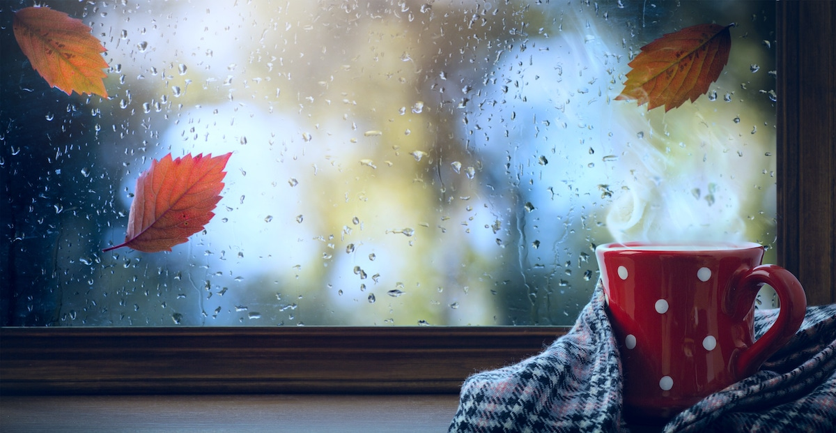 red cup with hot drink and wet autumnal window; Autumn season background