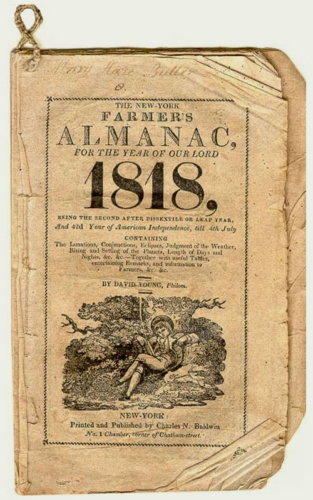 An old copy of the first edition of the Farmers' Almanac, from 1818.