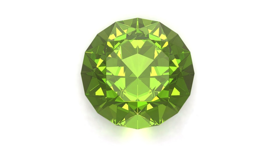 A Peridot birthstone symbolizing the month of August against a white background.