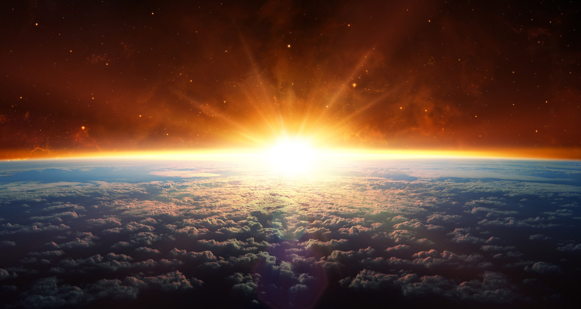 sun rising over sphere of the earth