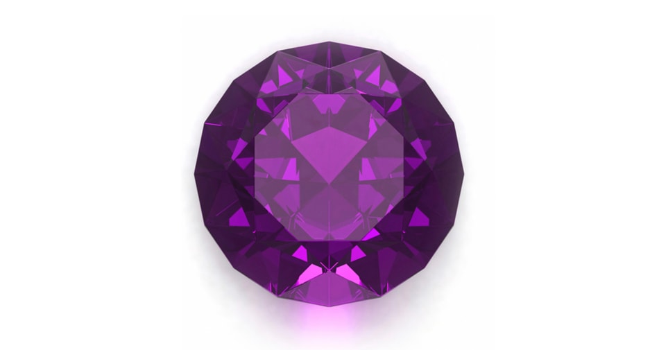 Amethyst birthstone symbolizing the month of February against a white background.