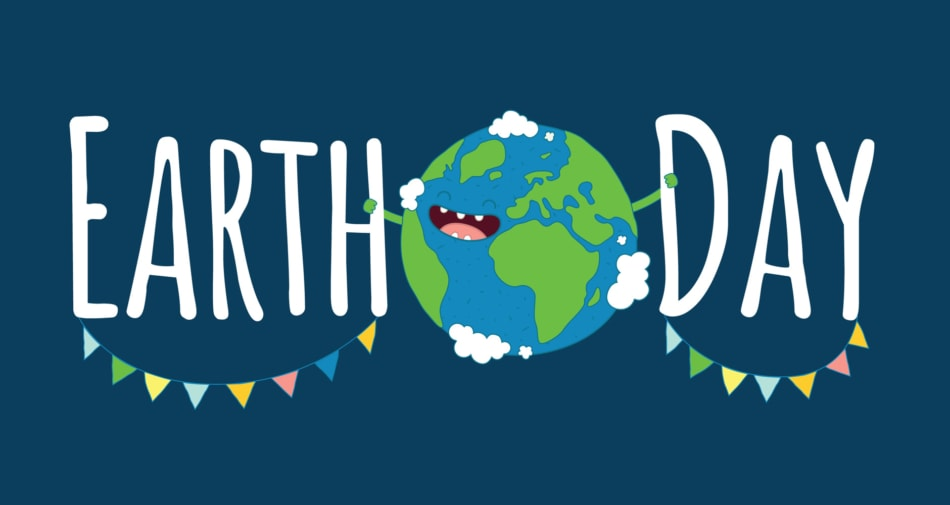 """Earth Day Banner with flags and planet Earth holding the words """"Earth Day."""""""