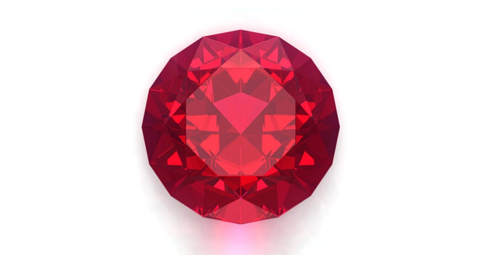 A ruby birthstone symbolizing the month of July against a white background.