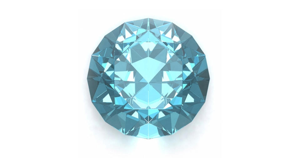 Aquamarine birthstone symbolizing the month of March against a white background.