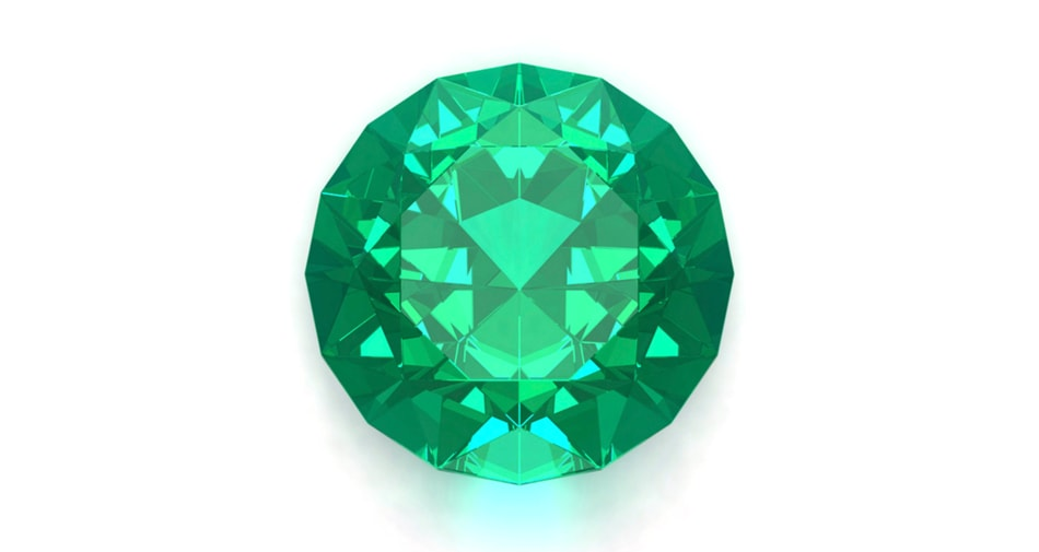 An Emerald birthstone symbolizing the month of May against a white background.