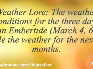 Weather Lore: The weather conditions for the three days of an Embertide (March 4, 6, 7) rule the weather for the next 3 months. featured image