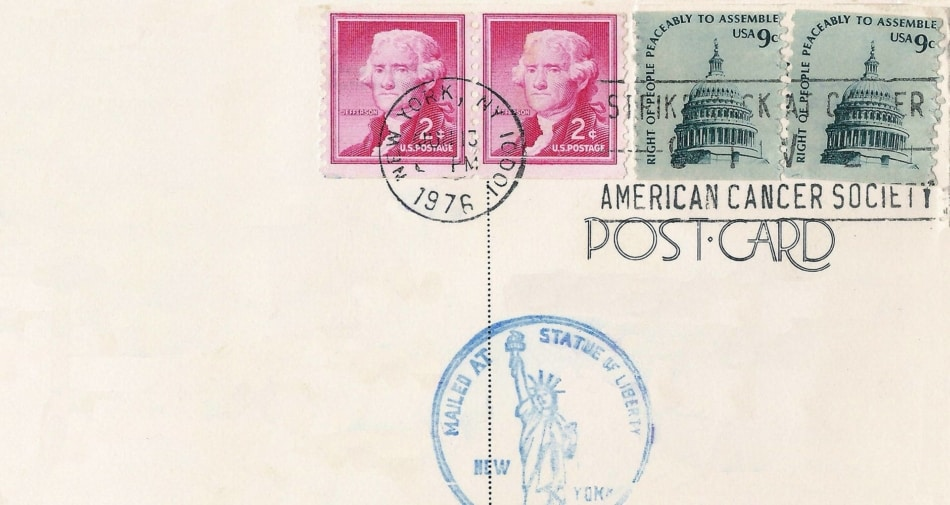 A postmarked postcard addressed to the American Cancer Society.