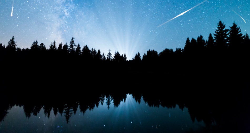Meteor shower over pine trees and a lake.