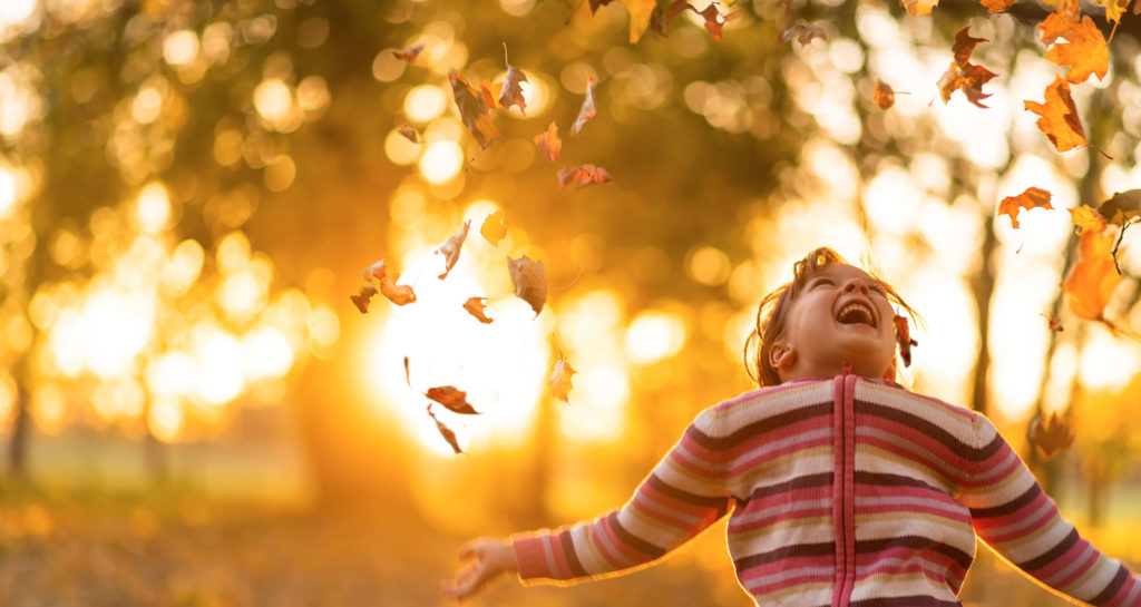 A boy shows excitement as autumn leaves fall on him with sun shining through trees in the background.