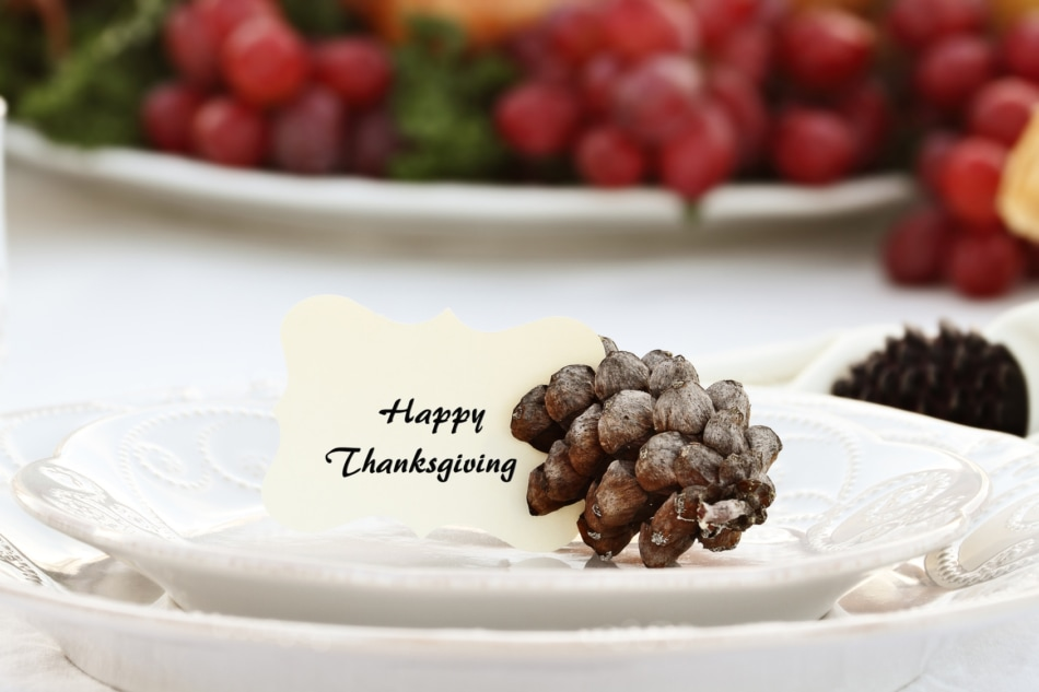 """Thanksgiving"""" note card placed on plate held in place by a pine cone."""
