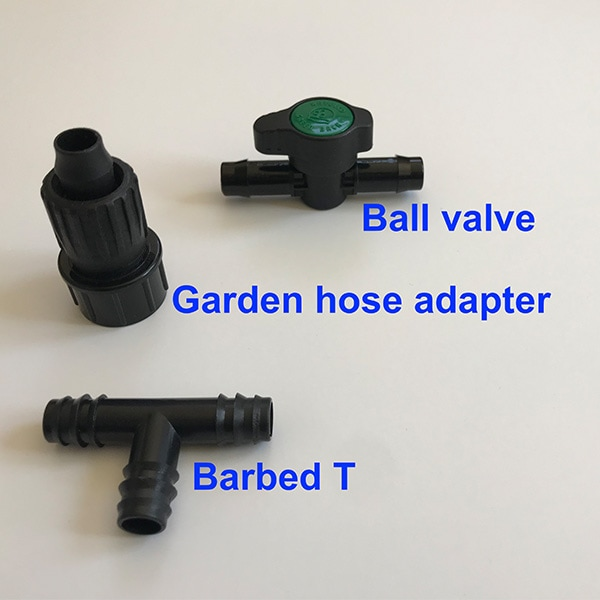 captioned photo of ball valve, garden hose adapter, barbed t