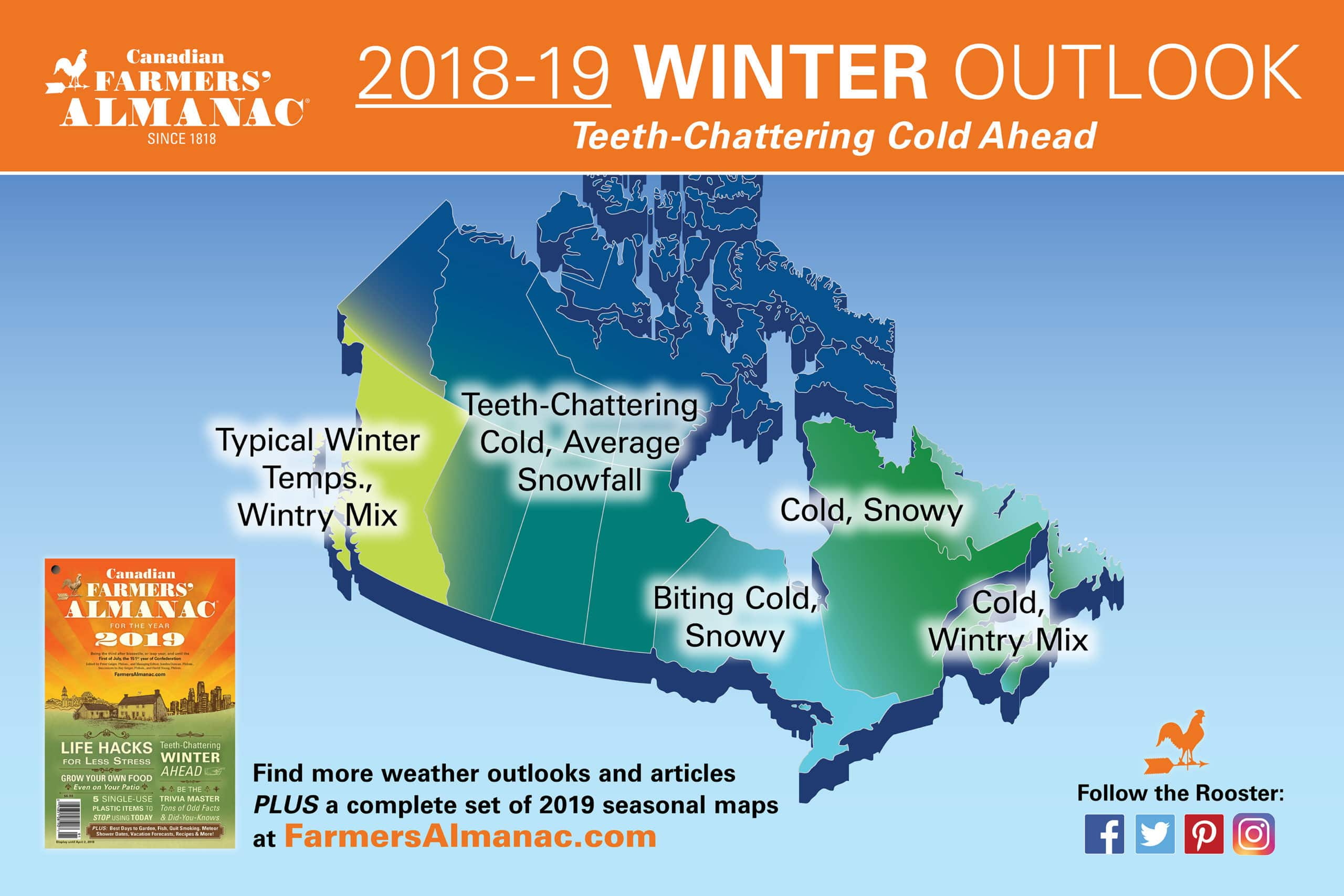 Farmers Almanac S 2019 Winter Weather Forecast For Canada