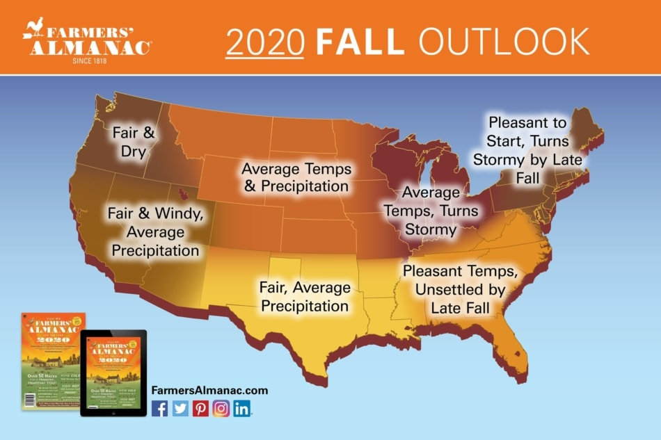 2020 Fall Weather Outlook Map for United States by the Farmers' Almanac.