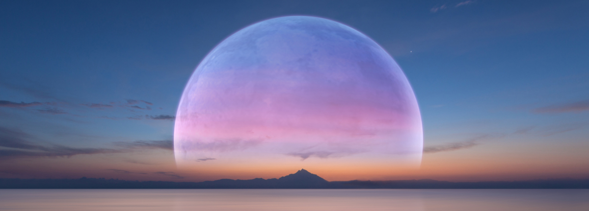 Large pink full moon rising over a mountainous island.