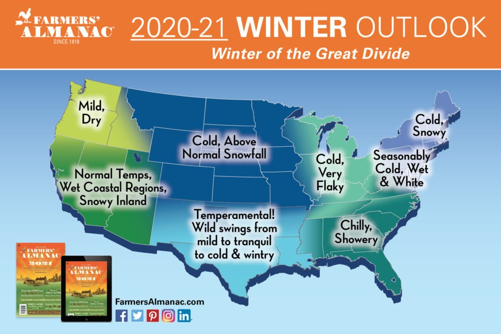 Farmers' Almanac Map Extended Forecast Map for Winter 2019 to 2020 in United-States