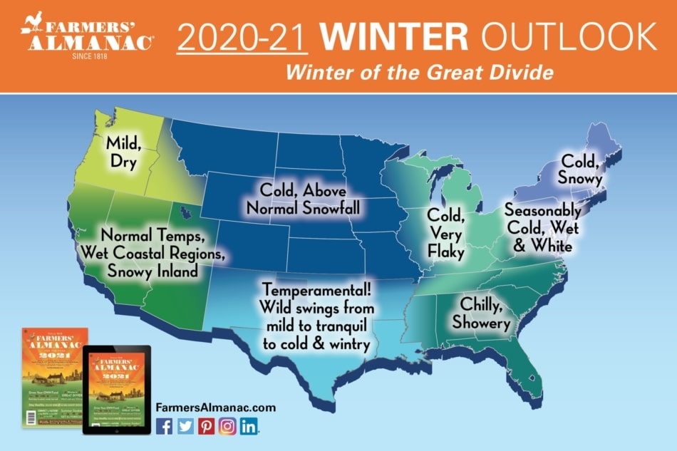 Farmers' Almanac Map Extended Forecast Map for Winter 2020 to 2021 in United-States.