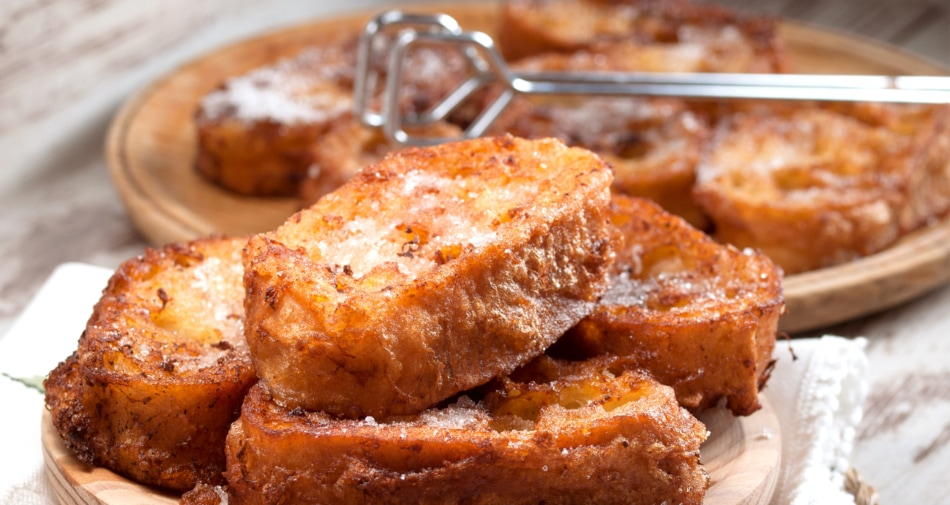 Delicious looking french toast in a dish.