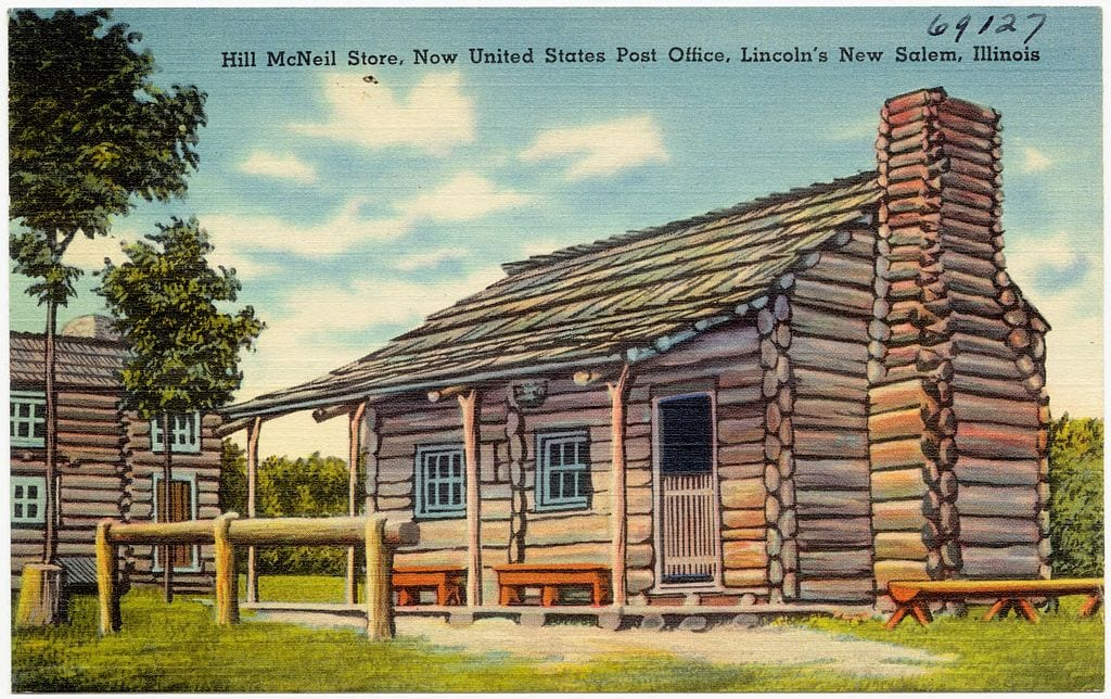 A postcard of Lincoln's post office in New Salem, IL