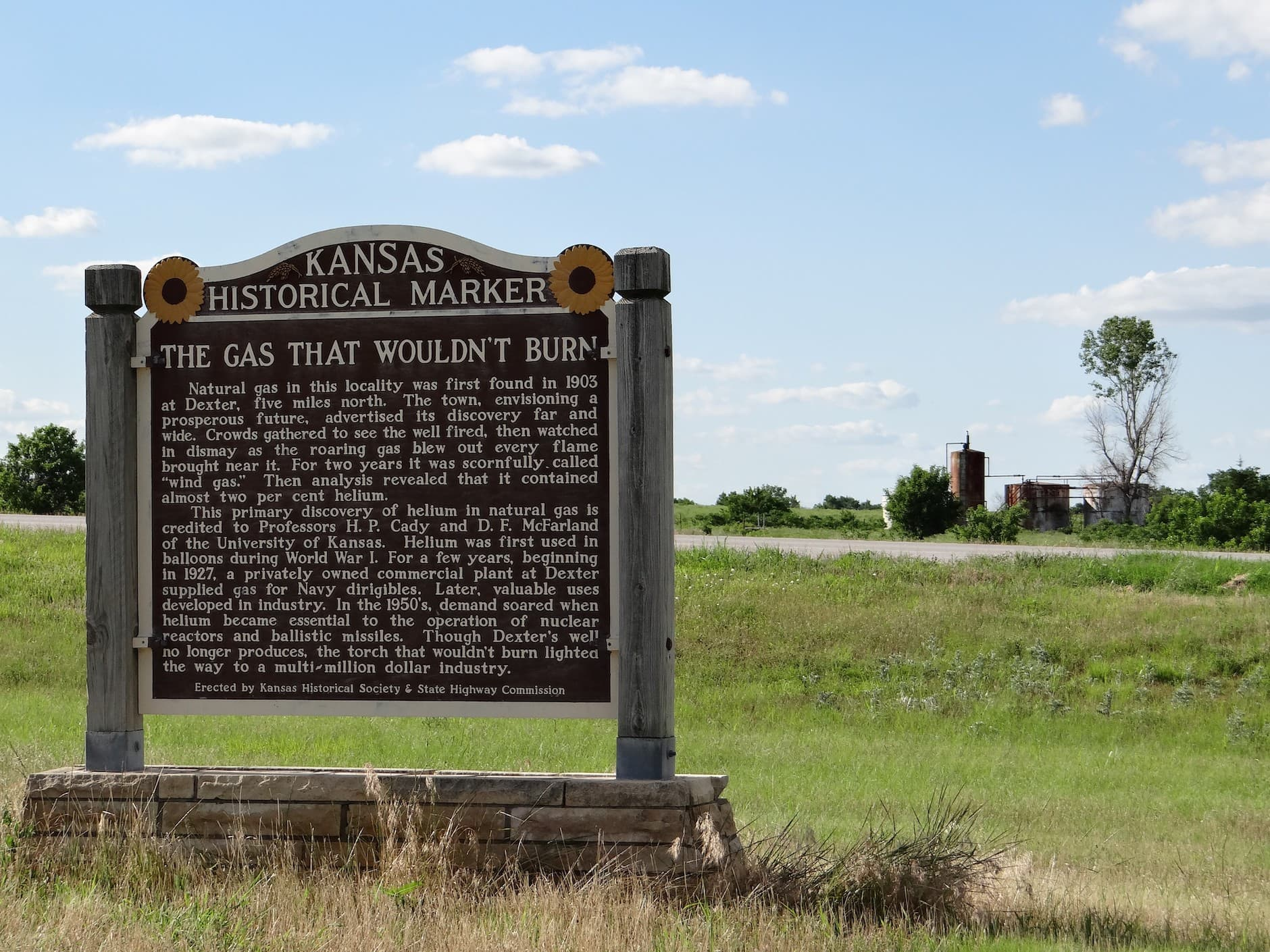 Kansas Historical Marker for Helium