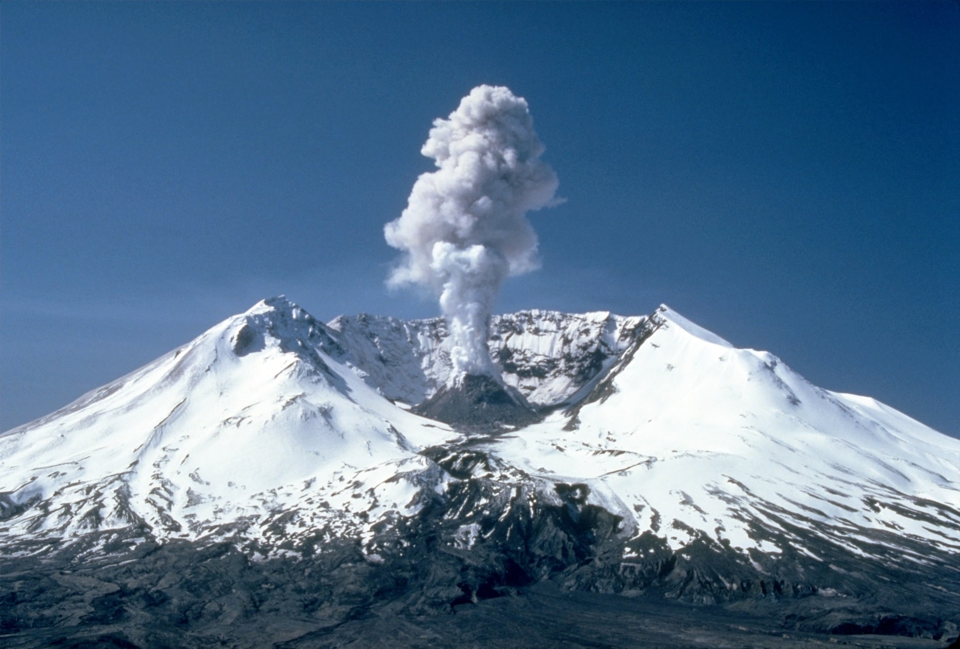 Mount St. Helens with a plume of smoke