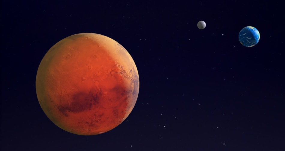 Illustration of Mars with Earth and its moon in the distance.