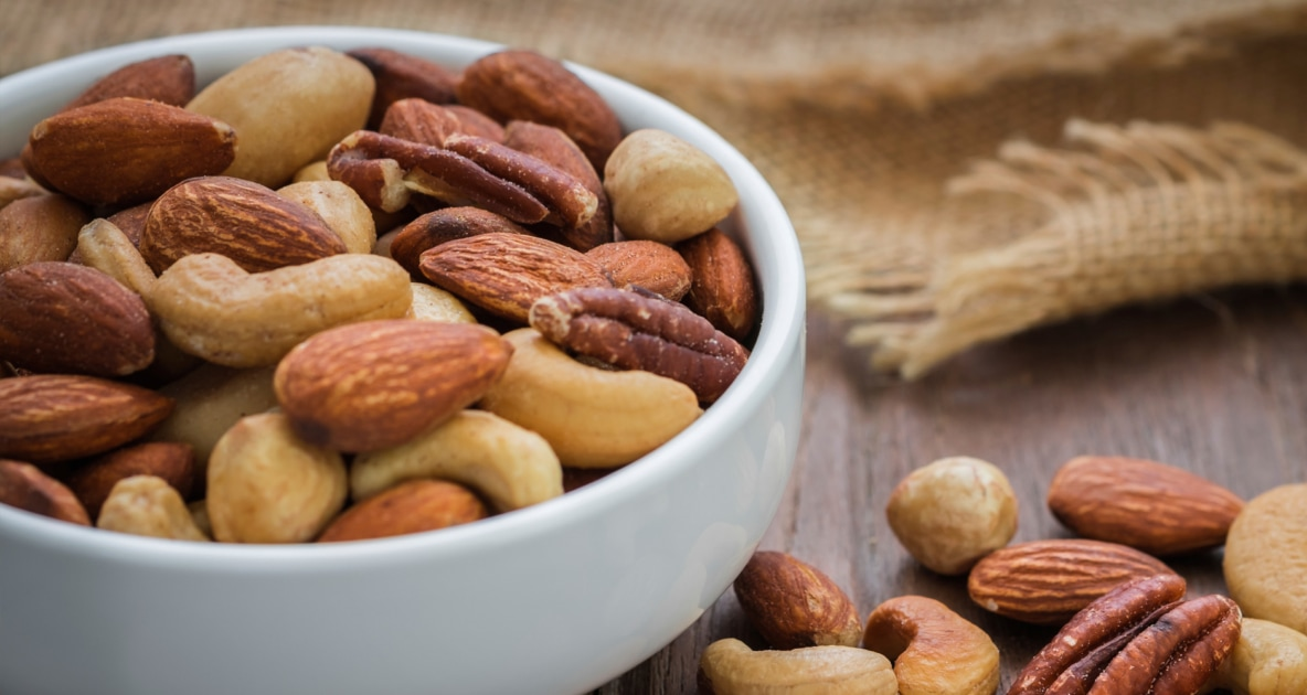 Assortment of nuts in a bowl.