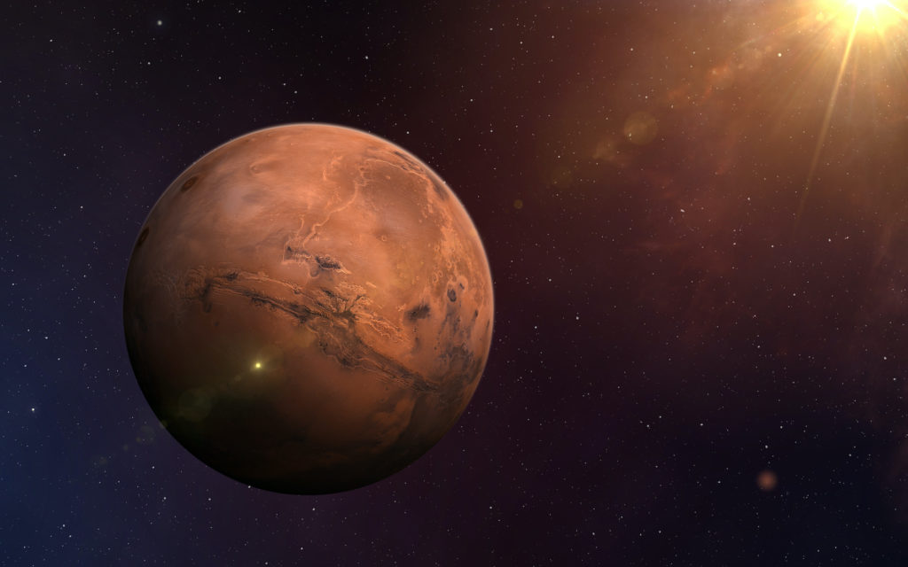 View of Mars from space. Space, nebula and planet Mars. This image elements furnished by NASA.
