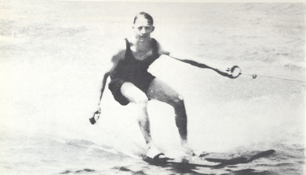 Ralph Samuelson waterskiing on the lake.