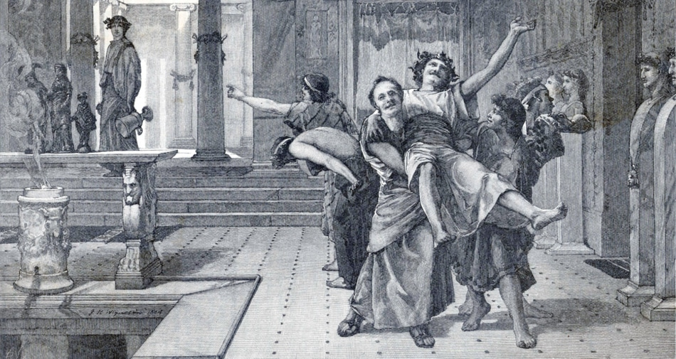 Black and white painting of a group of men celebrating Saturnalia in Rome.