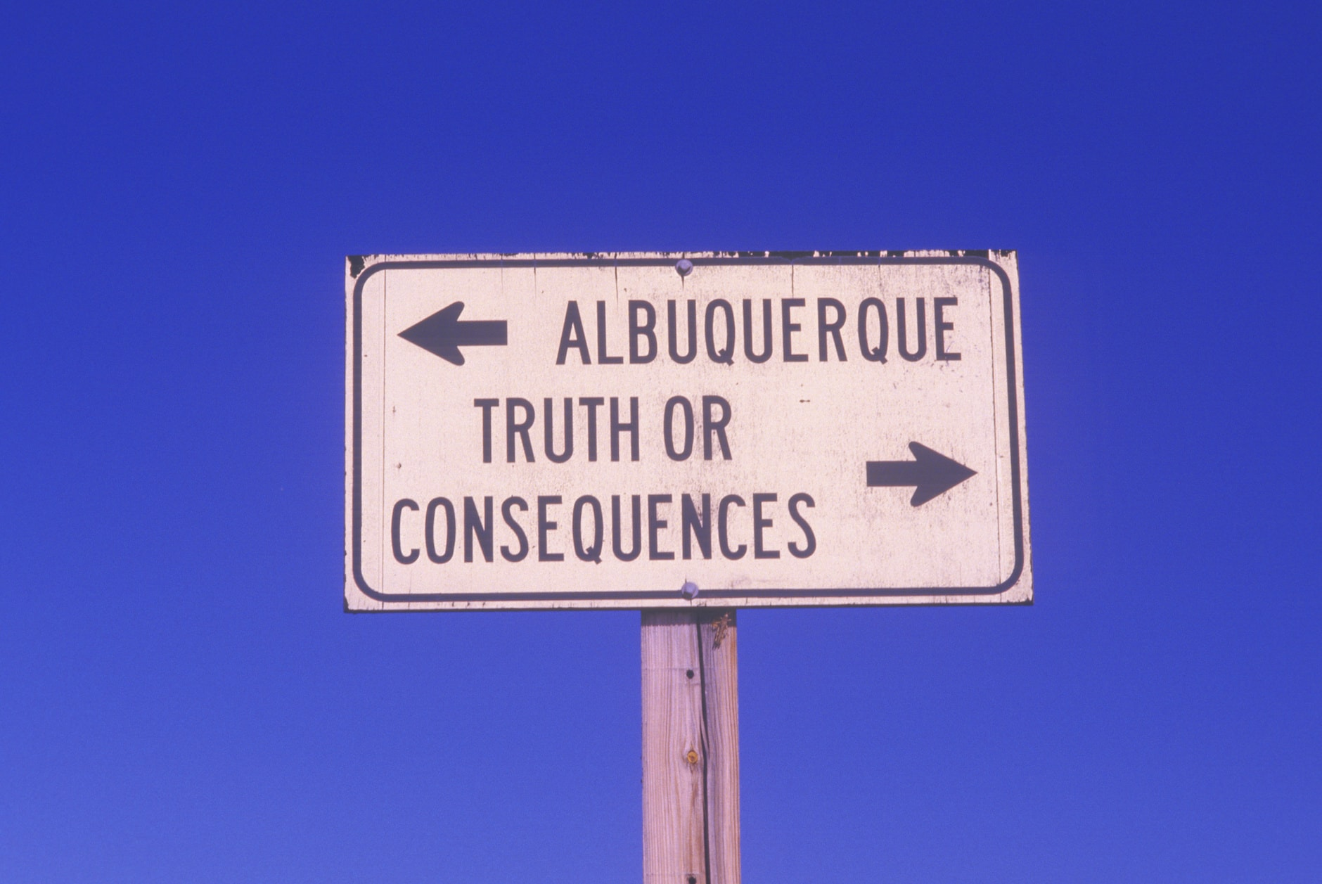 Road sign for Truth or Consequences, NM