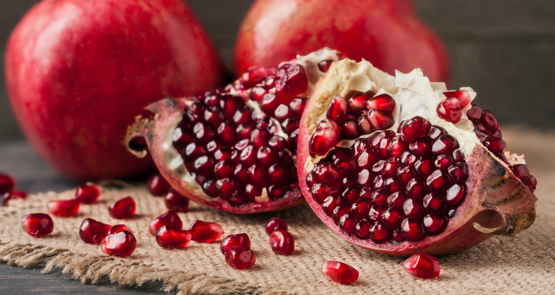A winter superfood: pomegranate sliced in half
