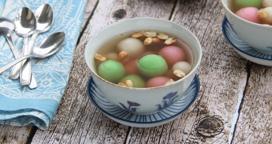 Dongzhi Tang Yuan Sweet Dumplings in a bowl.