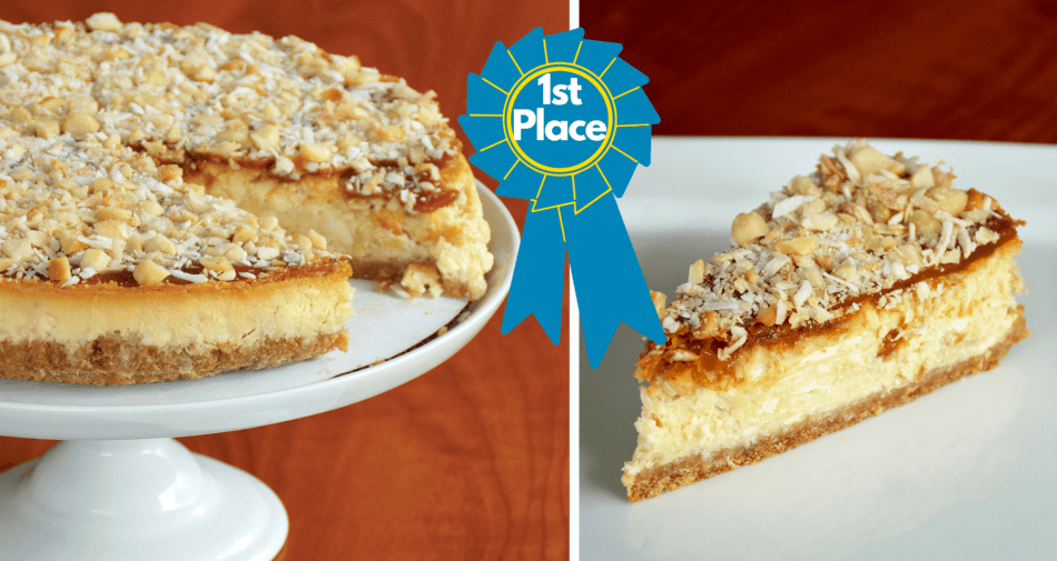 Banana-Macadamia Nut Tres Leches Cheesecake - First Place Winner