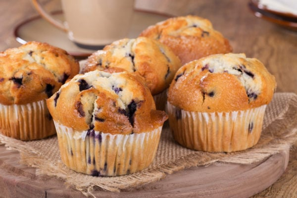 blueberry muffins on a table