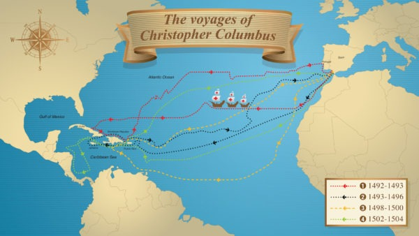 Map with the marked routes of the 4 trips of Christopher Columbus.