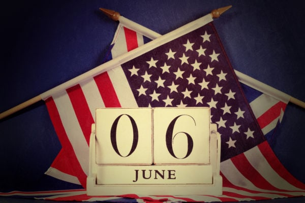Retro vintage style D-Day calendar with USA and UK flags