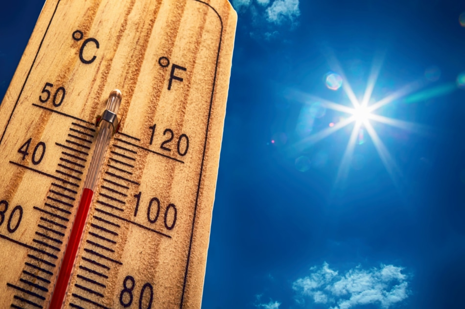Wooden thermometer towers into a blue sky with the sun shining overhead.