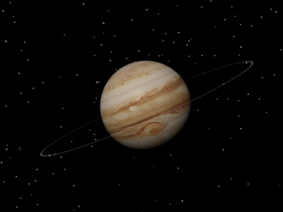 3D Rendering of Jupiter with a small ring around it.