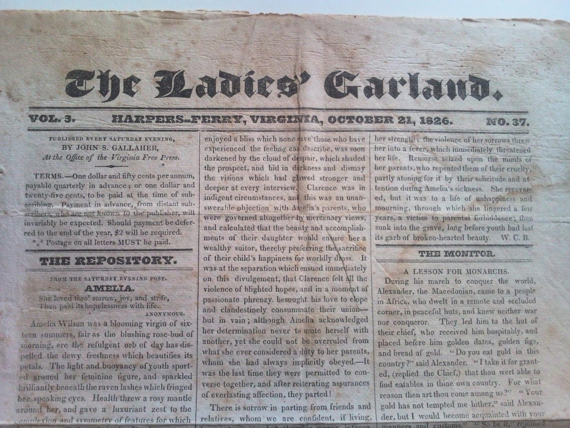 Front page of the newspaper the Ladies' Garland