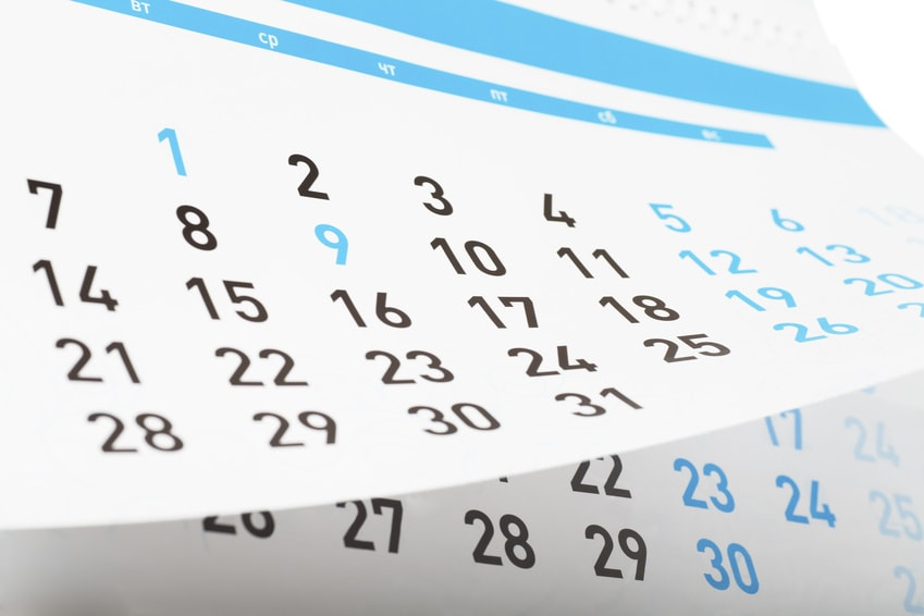 Closeup view of pages of tear-off calendar.