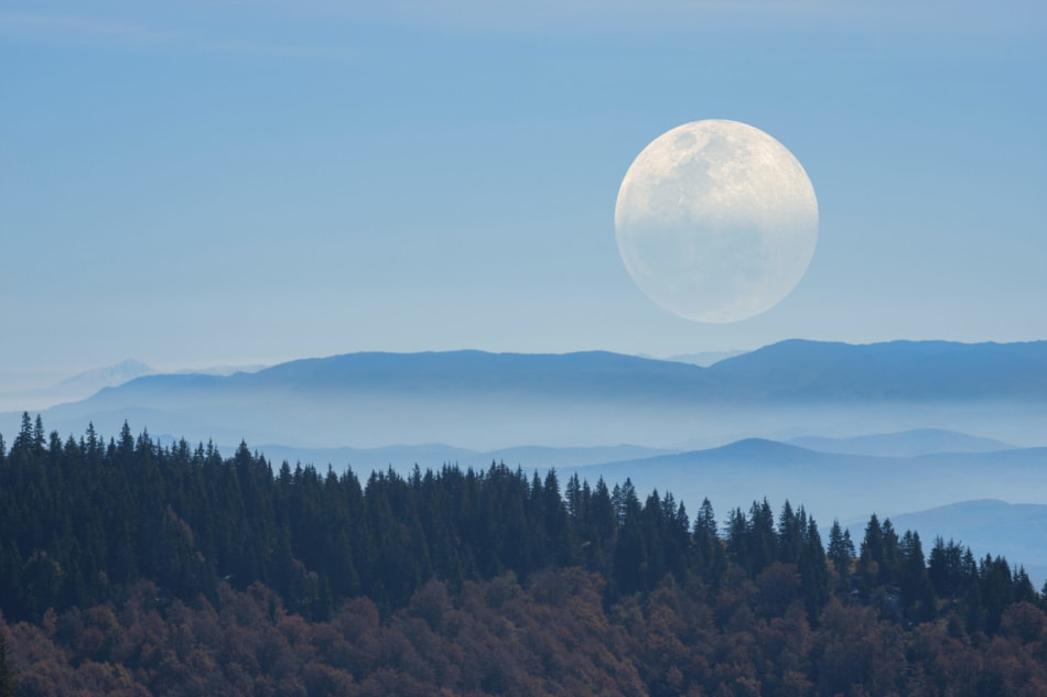 Full moon over Smoky Mountains and a forest.
