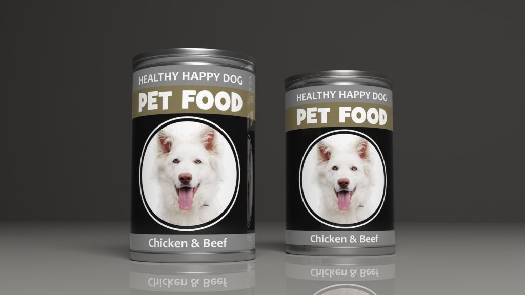 two generic cans of dog food labeled chicken and beef